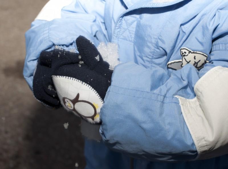 Handschuhe mit applizierten Pinguinen